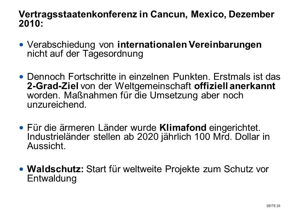 Vertragsstaatenkonferenz in Cancun, Mexico, Dezember