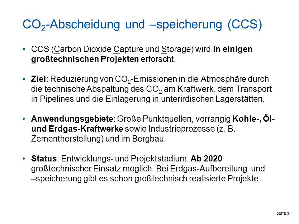 CO2-Abscheidung und –speicherung (CCS)