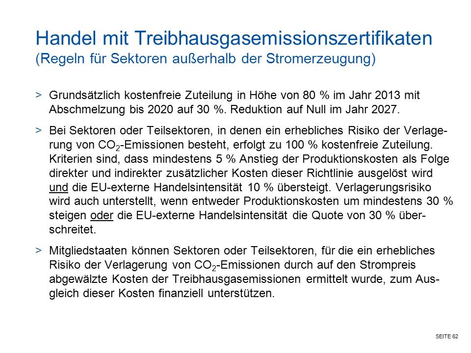 Handel mit Treibhausgasemissionszertifikaten (Regeln für Sektoren außerhalb der Stromerzeugung)