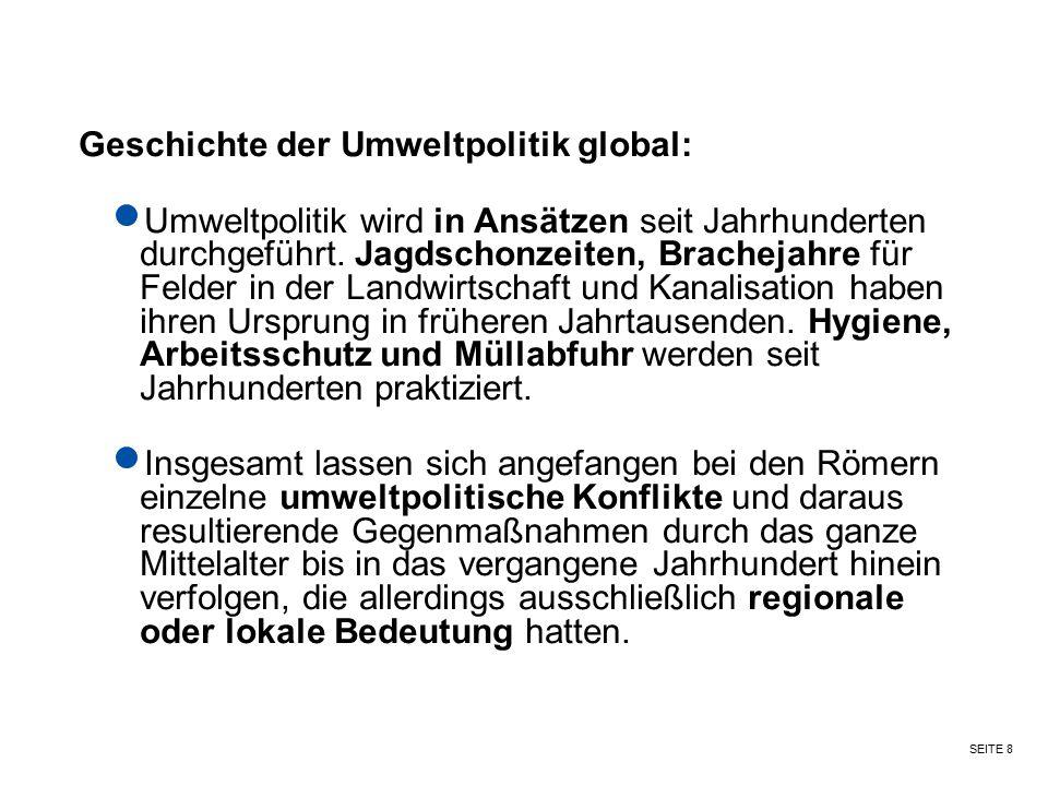 Geschichte der Umweltpolitik global: