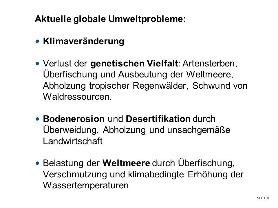 Aktuelle globale Umweltprobleme: