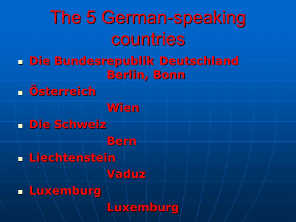 The 5 German-speaking countries