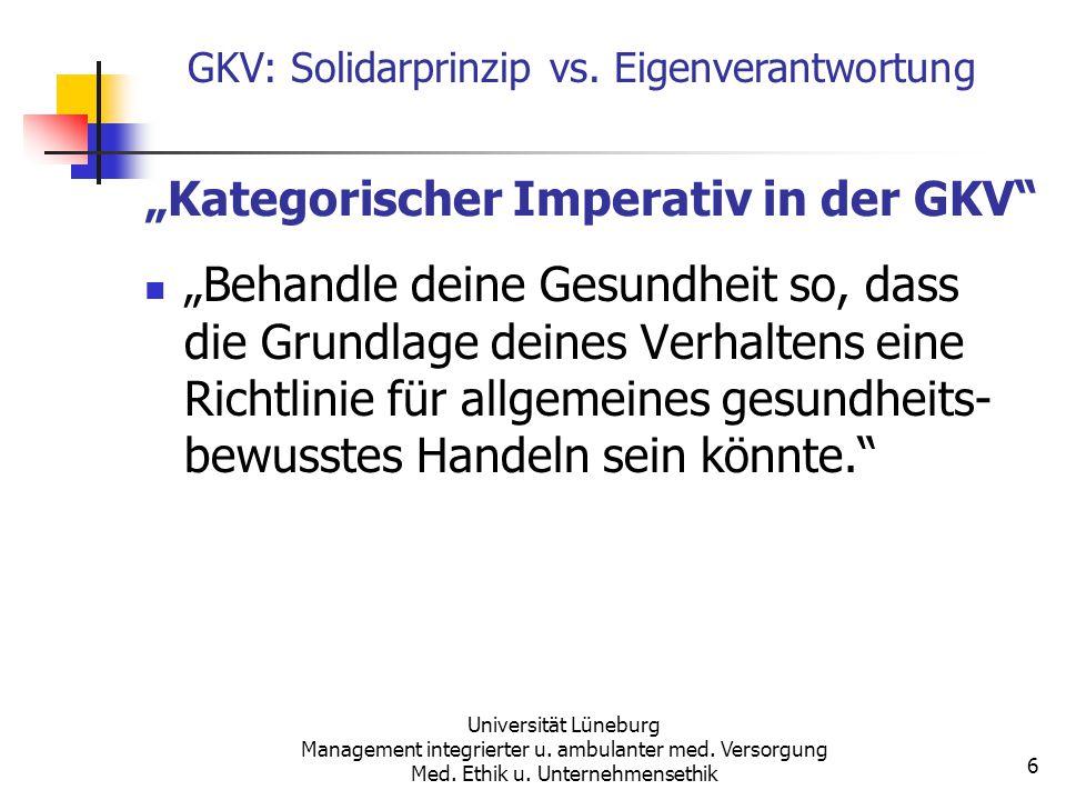 """Kategorischer Imperativ in der GKV"