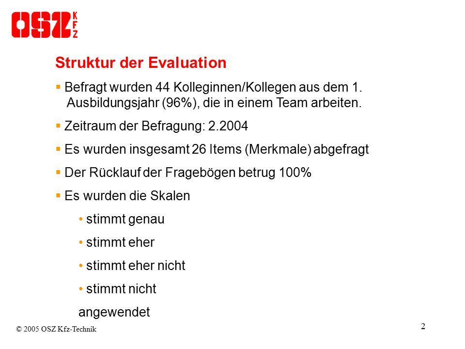 Struktur der Evaluation