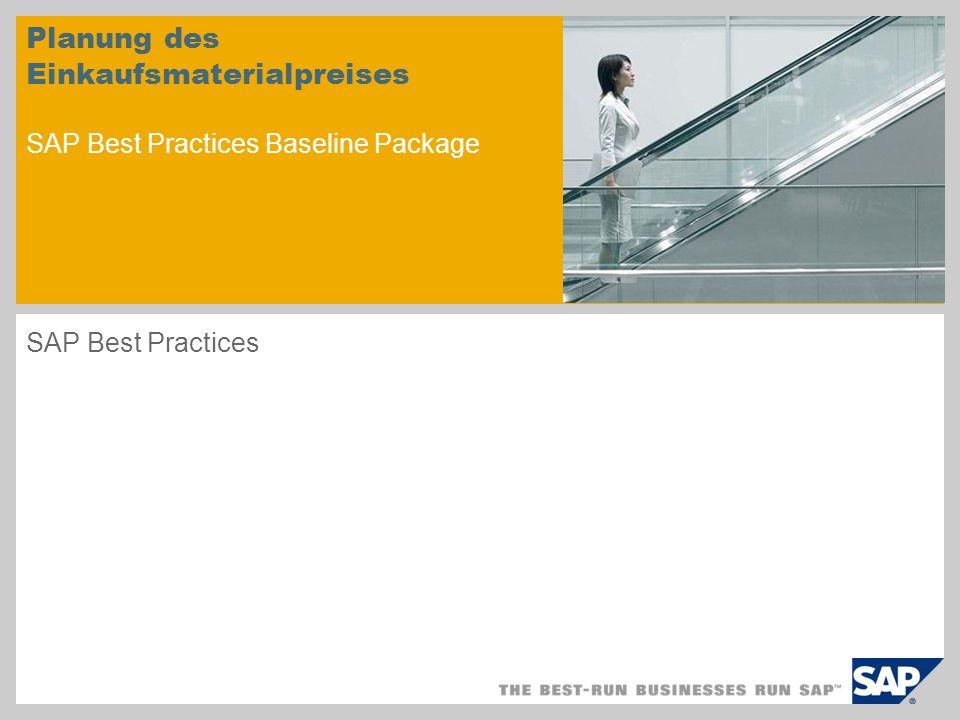 Planung des Einkaufsmaterialpreises SAP Best Practices Baseline Package