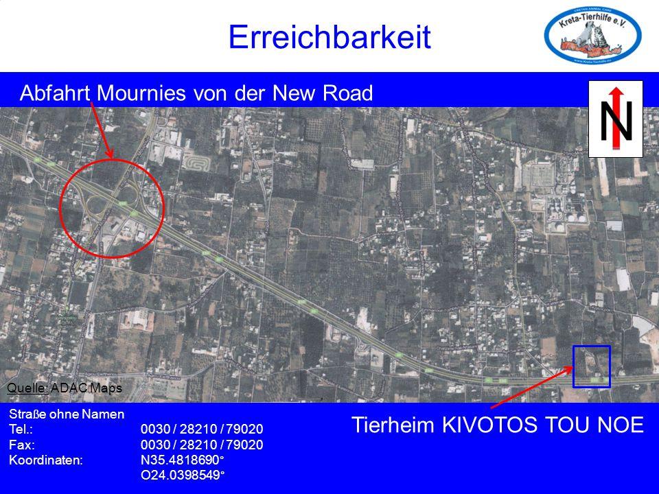 Erreichbarkeit Erreichbarkeit Abfahrt Mournies von der New Road