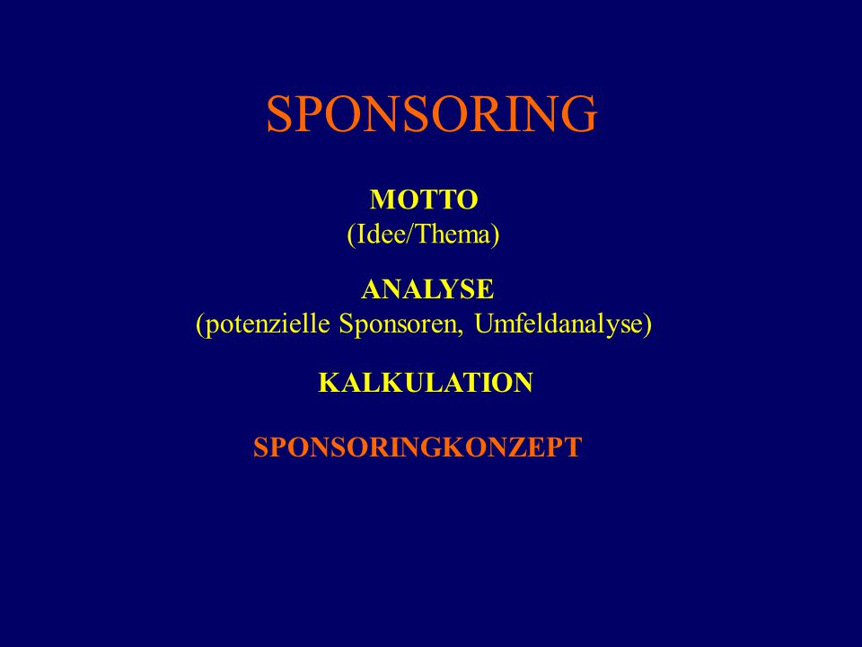 SPONSORING MOTTO (Idee/Thema) ANALYSE