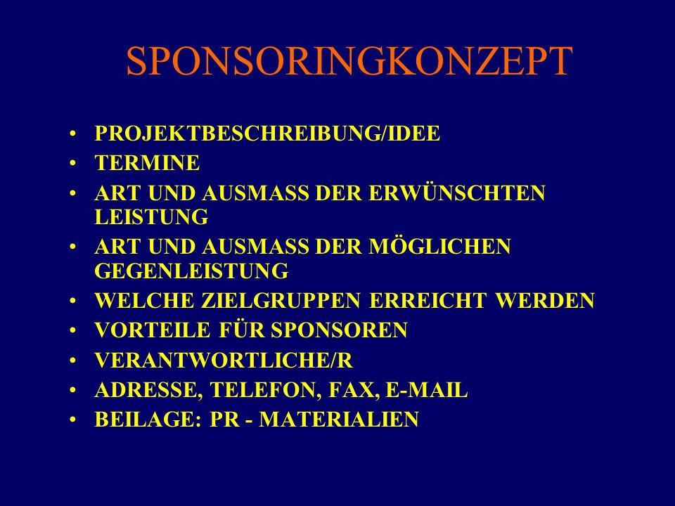 SPONSORINGKONZEPT PROJEKTBESCHREIBUNG/IDEE TERMINE