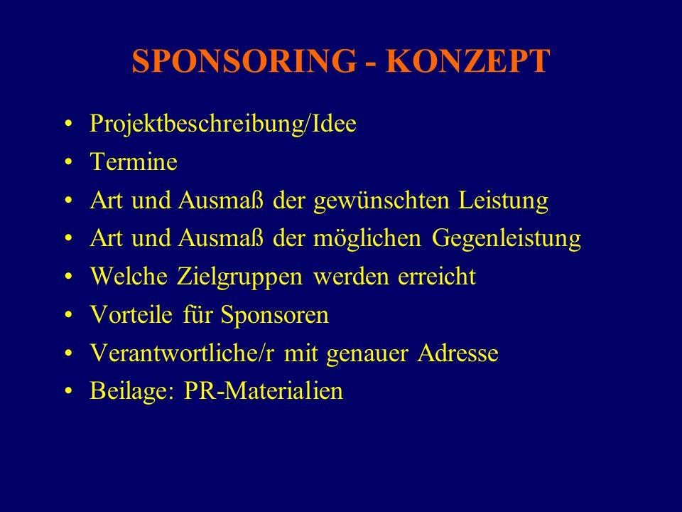 SPONSORING - KONZEPT Projektbeschreibung/Idee Termine