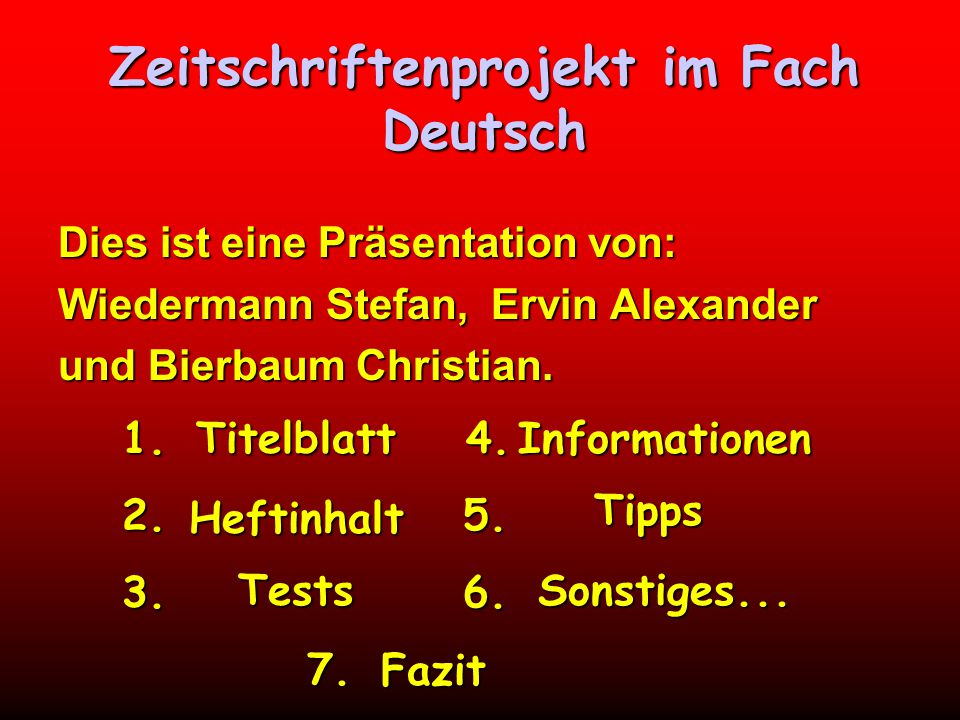 Zeitschriftenprojekt im Fach Deutsch