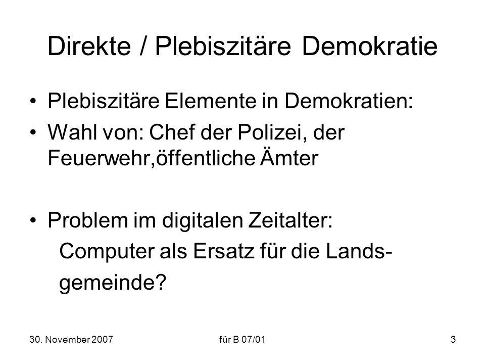 Direkte / Plebiszitäre Demokratie