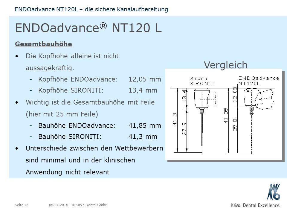ENDOadvance® NT120 L Vergleich Gesamtbauhöhe