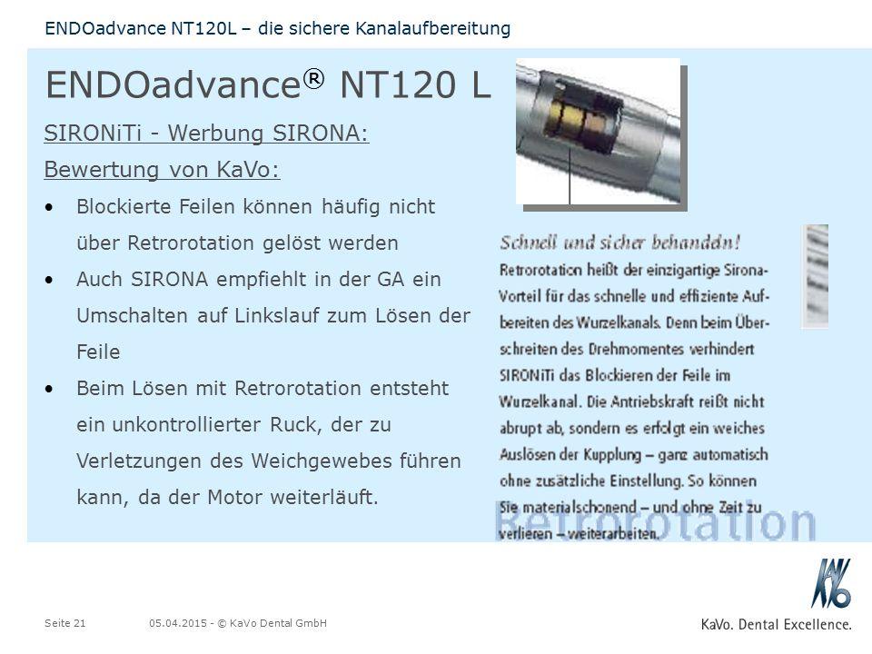 ENDOadvance® NT120 L SIRONiTi - Werbung SIRONA: Bewertung von KaVo: