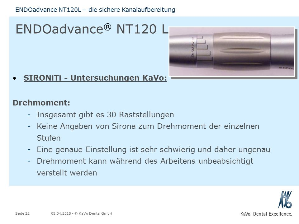 ENDOadvance® NT120 L SIRONiTi - Untersuchungen KaVo: Drehmoment: