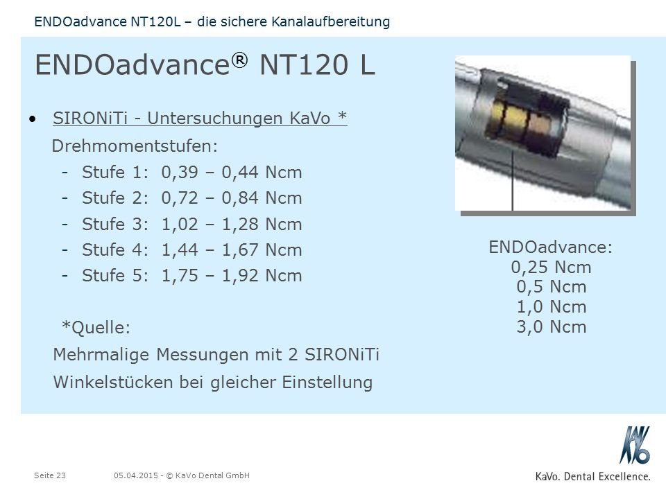 ENDOadvance: 0,25 Ncm 0,5 Ncm 1,0 Ncm 3,0 Ncm
