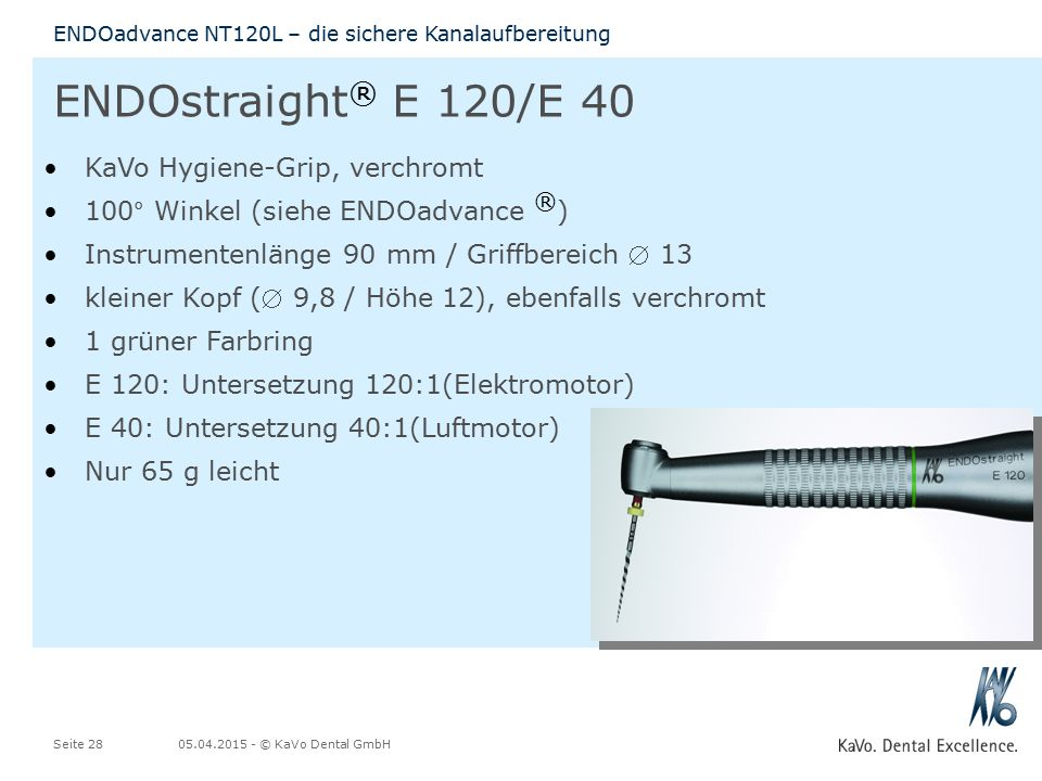ENDOstraight® E 120/E 40 KaVo Hygiene-Grip, verchromt