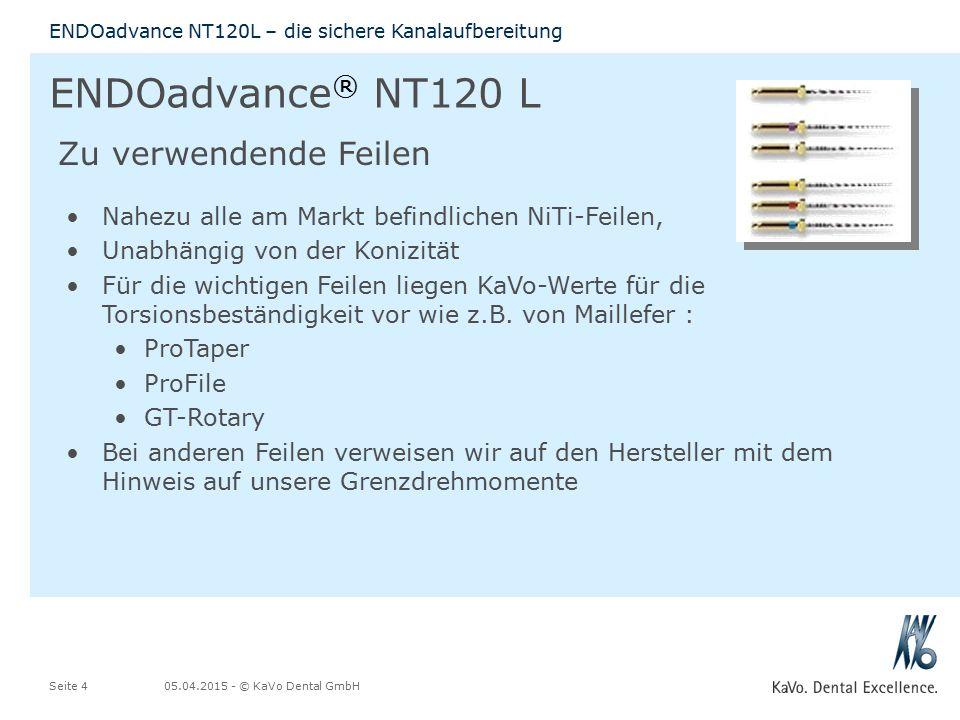 ENDOadvance® NT120 L Zu verwendende Feilen