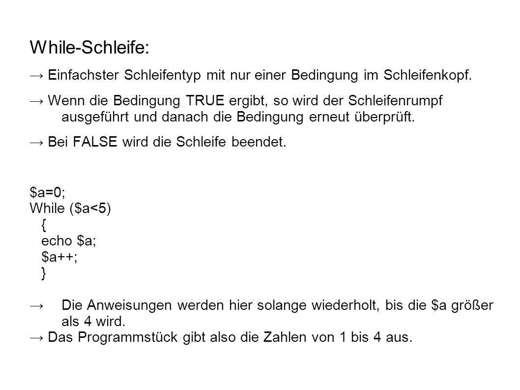 While-Schleife: → Einfachster Schleifentyp mit nur einer Bedingung im Schleifenkopf.