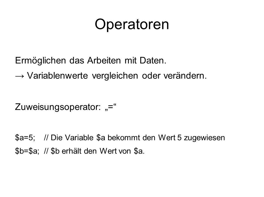 Operatoren Ermöglichen das Arbeiten mit Daten.