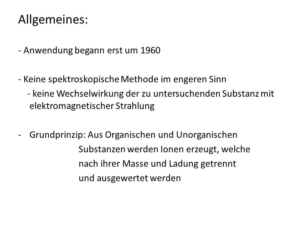 Allgemeines: - Anwendung begann erst um 1960