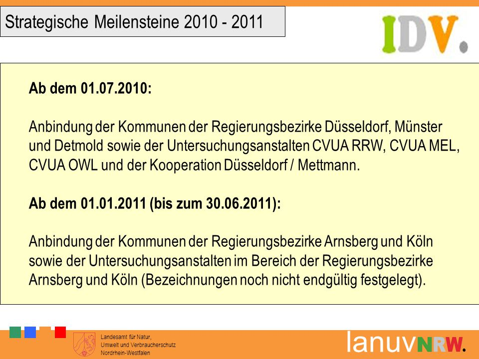 Strategische Meilensteine 2010 - 2011