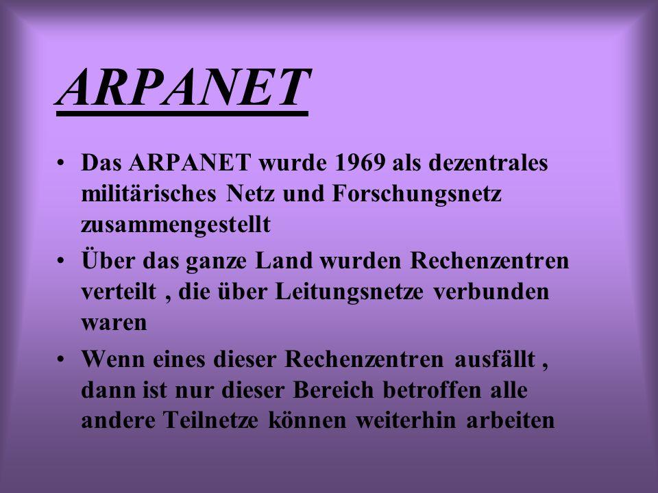 ARPANET Das ARPANET wurde 1969 als dezentrales militärisches Netz und Forschungsnetz zusammengestellt.