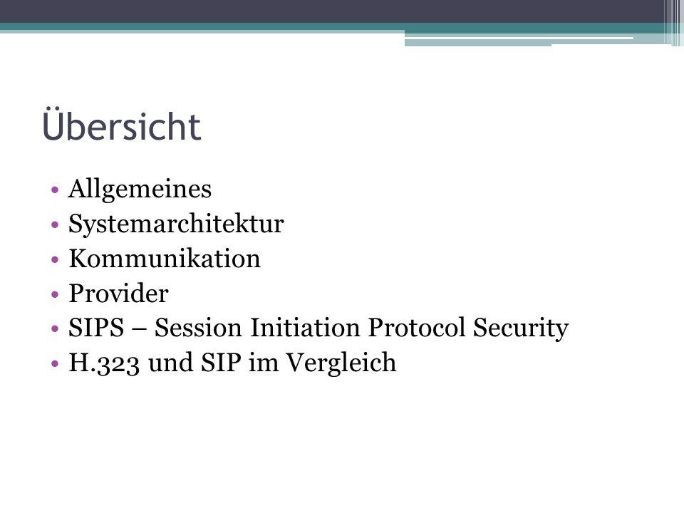 Übersicht Allgemeines Systemarchitektur Kommunikation Provider