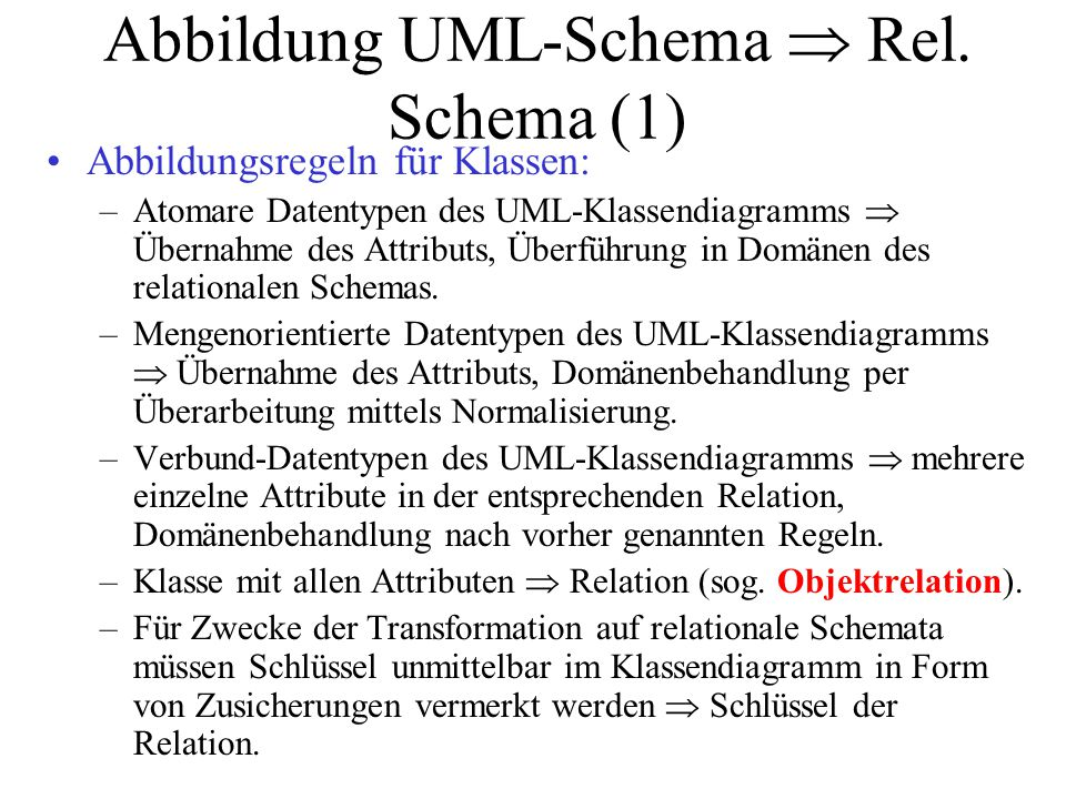 Abbildung UML-Schema  Rel. Schema (1)