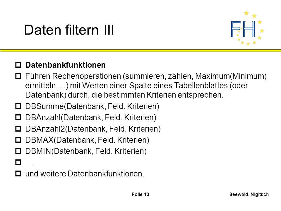 Daten filtern III Datenbankfunktionen