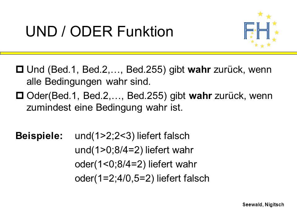 UND / ODER Funktion Und (Bed.1, Bed.2,…, Bed.255) gibt wahr zurück, wenn alle Bedingungen wahr sind.