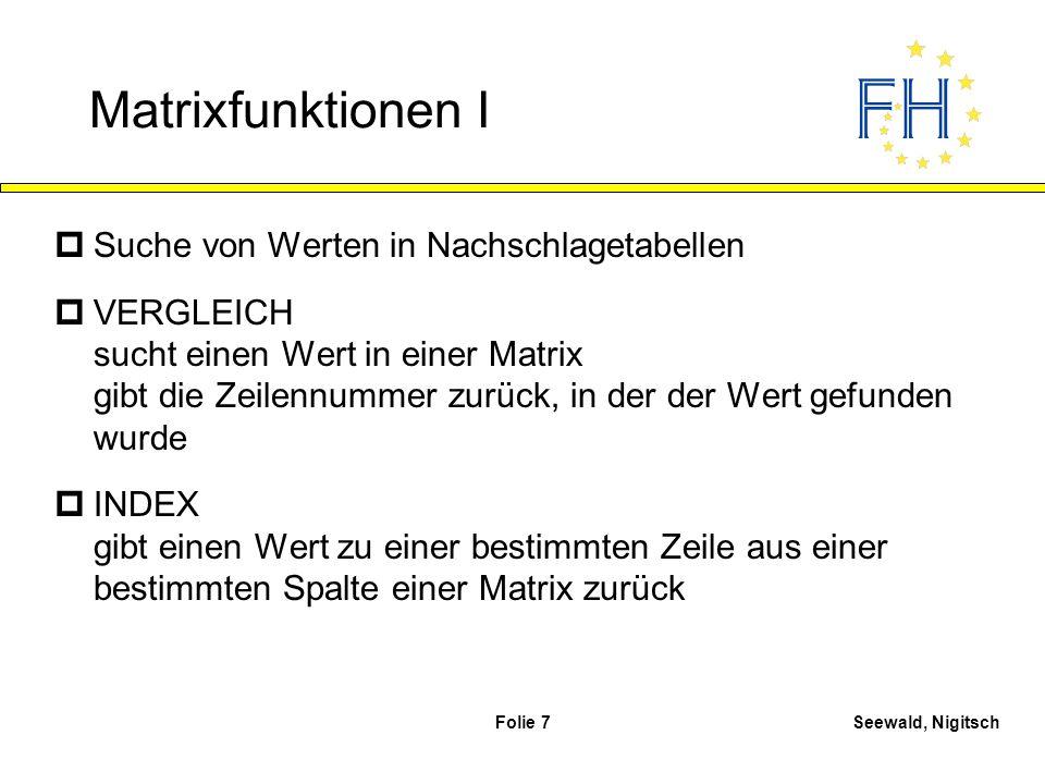 Matrixfunktionen I Suche von Werten in Nachschlagetabellen