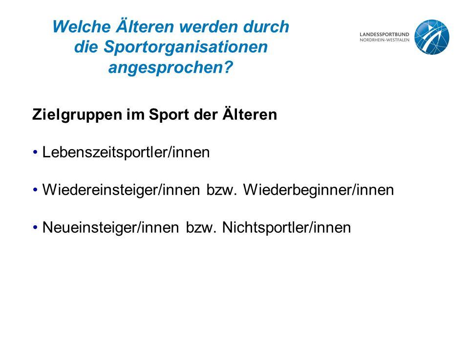 Welche Älteren werden durch die Sportorganisationen angesprochen