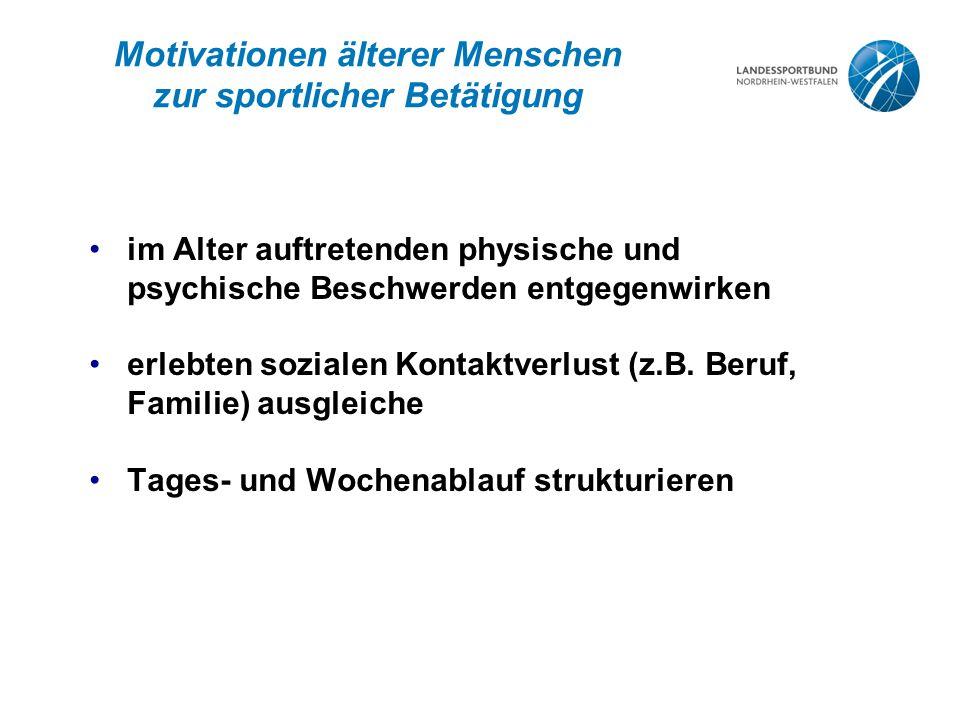 Motivationen älterer Menschen zur sportlicher Betätigung