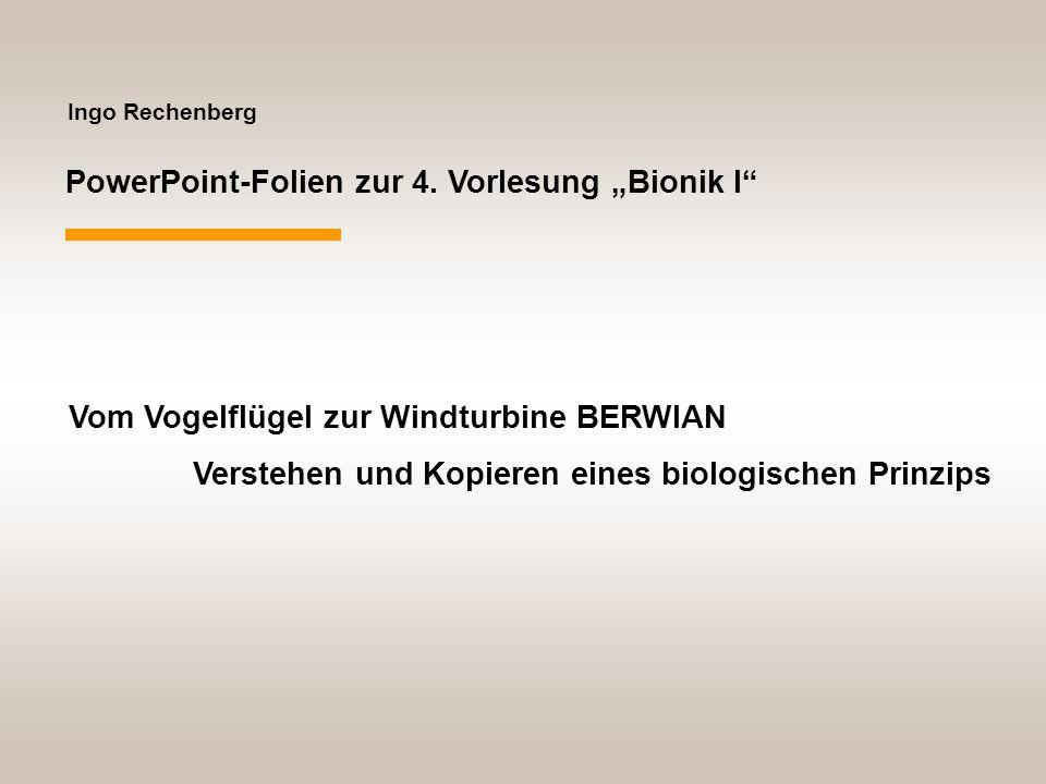 """PowerPoint-Folien zur 4. Vorlesung """"Bionik I"""