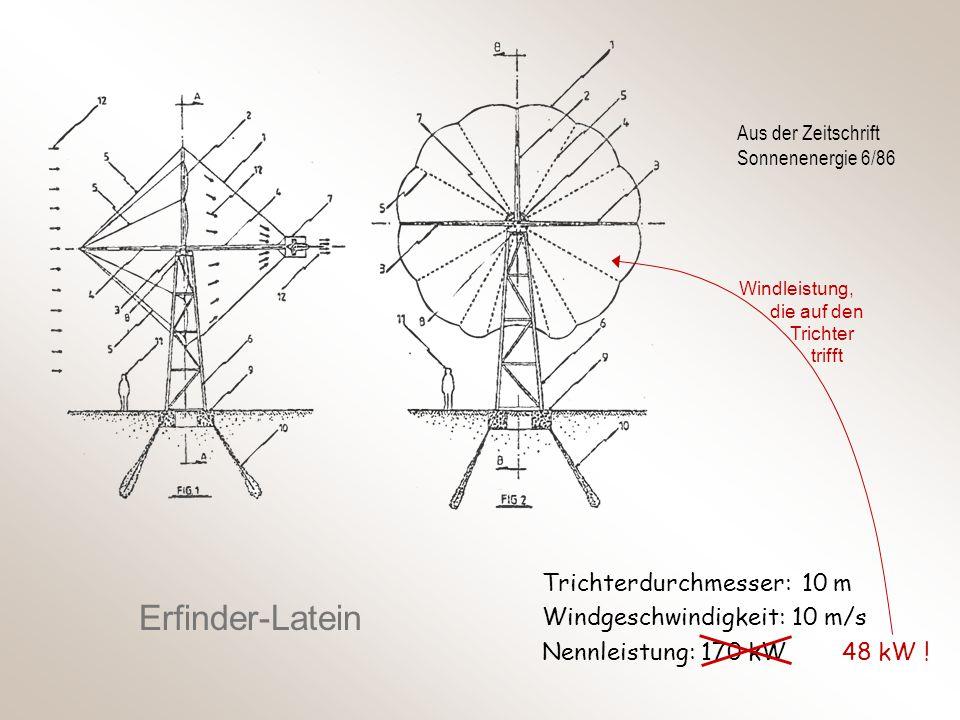 Erfinder-Latein Trichterdurchmesser: 10 m Windgeschwindigkeit: 10 m/s