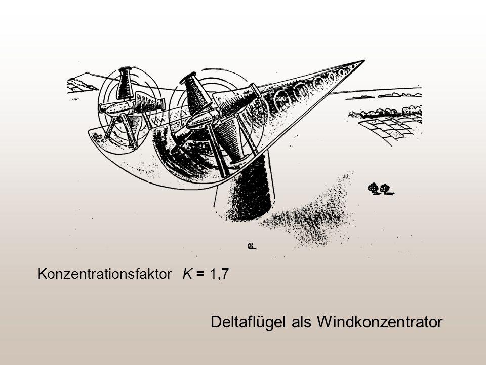 Deltaflügel als Windkonzentrator