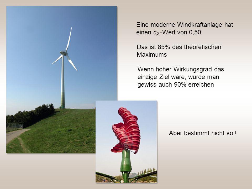 Eine moderne Windkraftanlage hat einen cp -Wert von 0,50