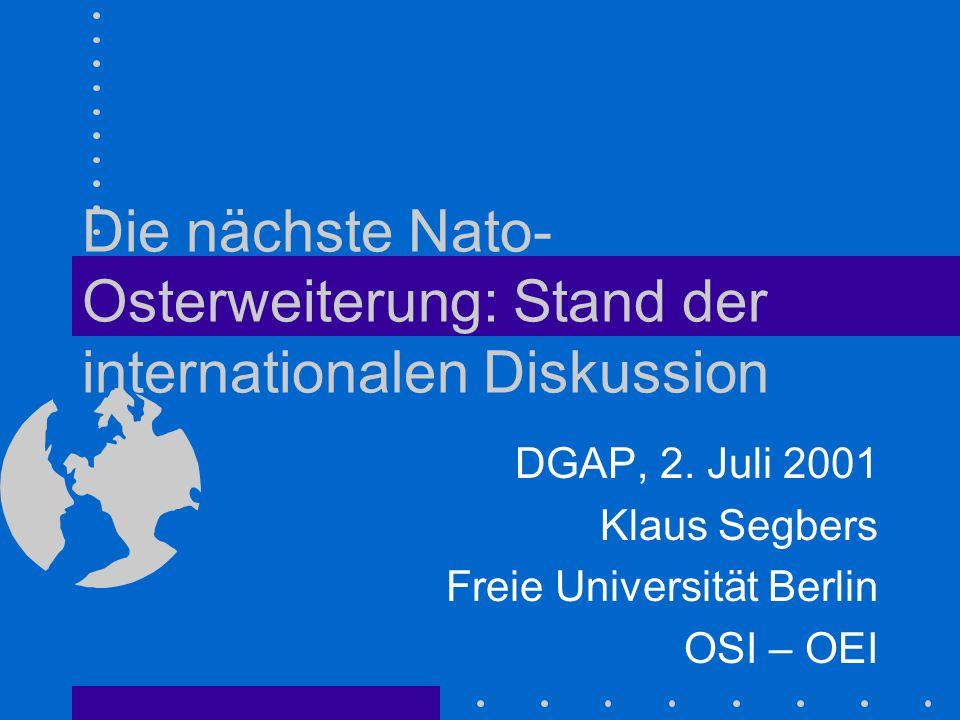 Die nächste Nato-Osterweiterung: Stand der internationalen Diskussion