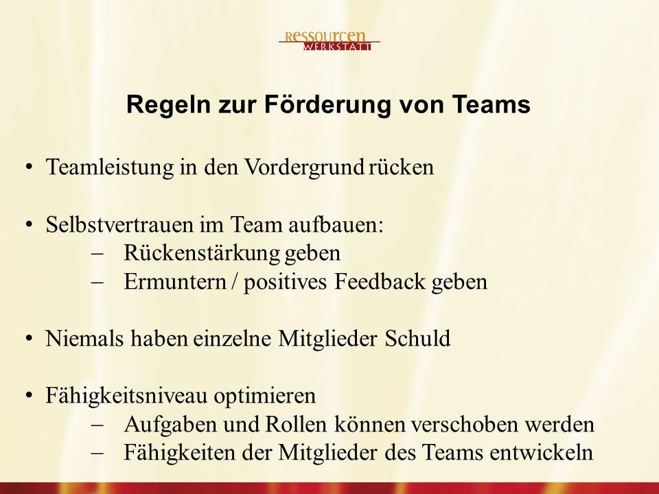 Regeln zur Förderung von Teams
