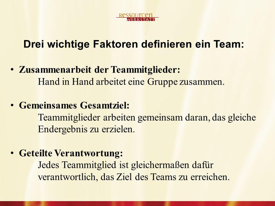 Drei wichtige Faktoren definieren ein Team: