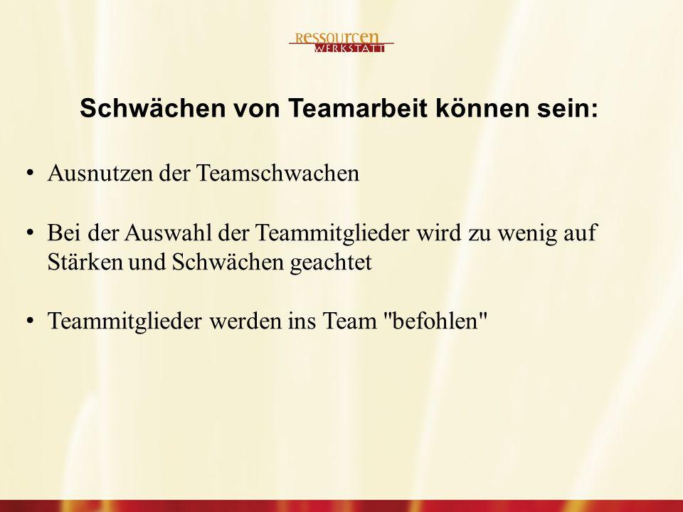 Schwächen von Teamarbeit können sein: