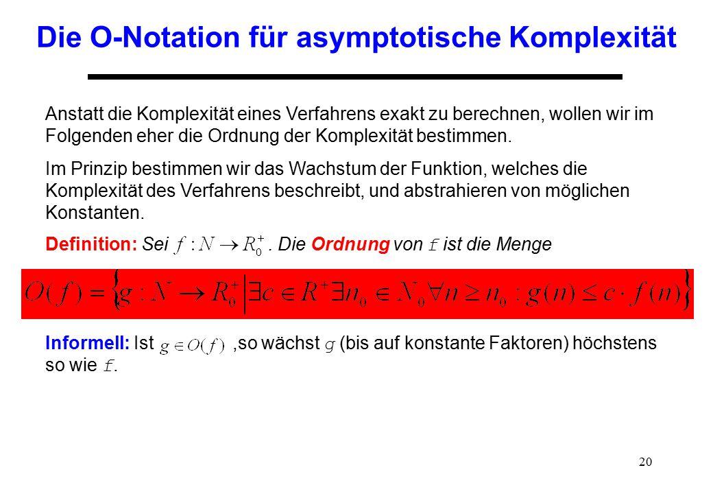 Die O-Notation für asymptotische Komplexität