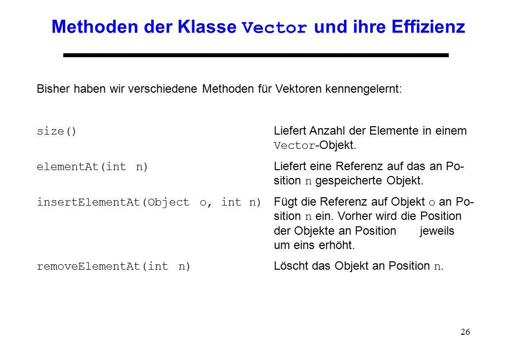 Methoden der Klasse Vector und ihre Effizienz