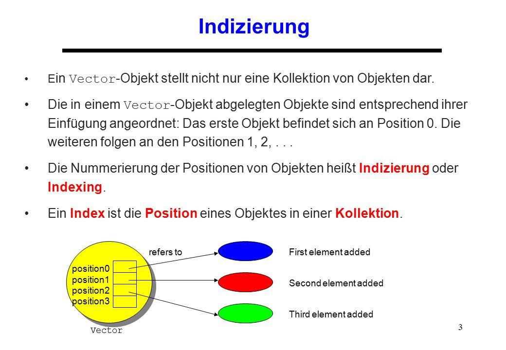 Indizierung Ein Vector-Objekt stellt nicht nur eine Kollektion von Objekten dar.