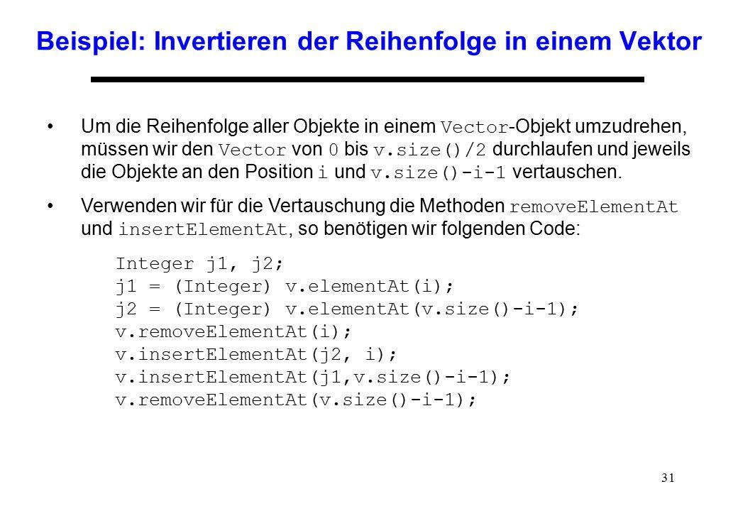 Beispiel: Invertieren der Reihenfolge in einem Vektor