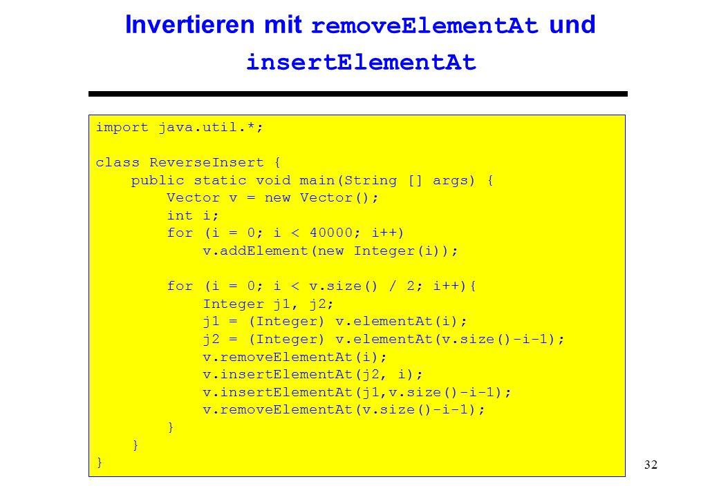 Invertieren mit removeElementAt und insertElementAt