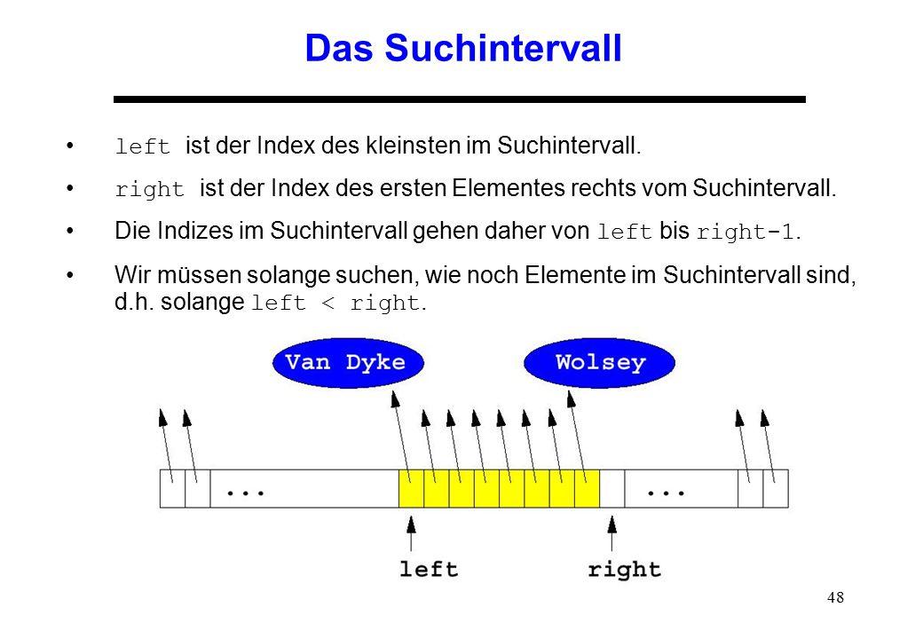 Das Suchintervall left ist der Index des kleinsten im Suchintervall.