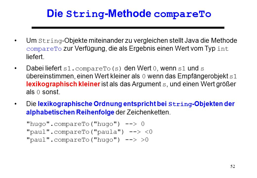Die String-Methode compareTo