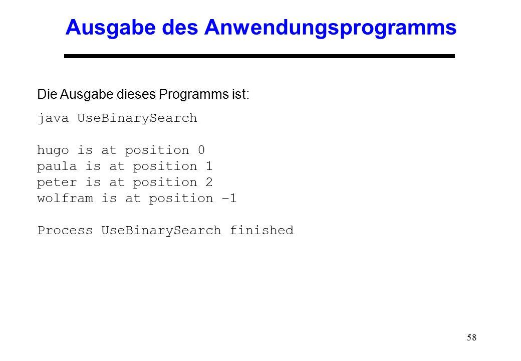 Ausgabe des Anwendungsprogramms