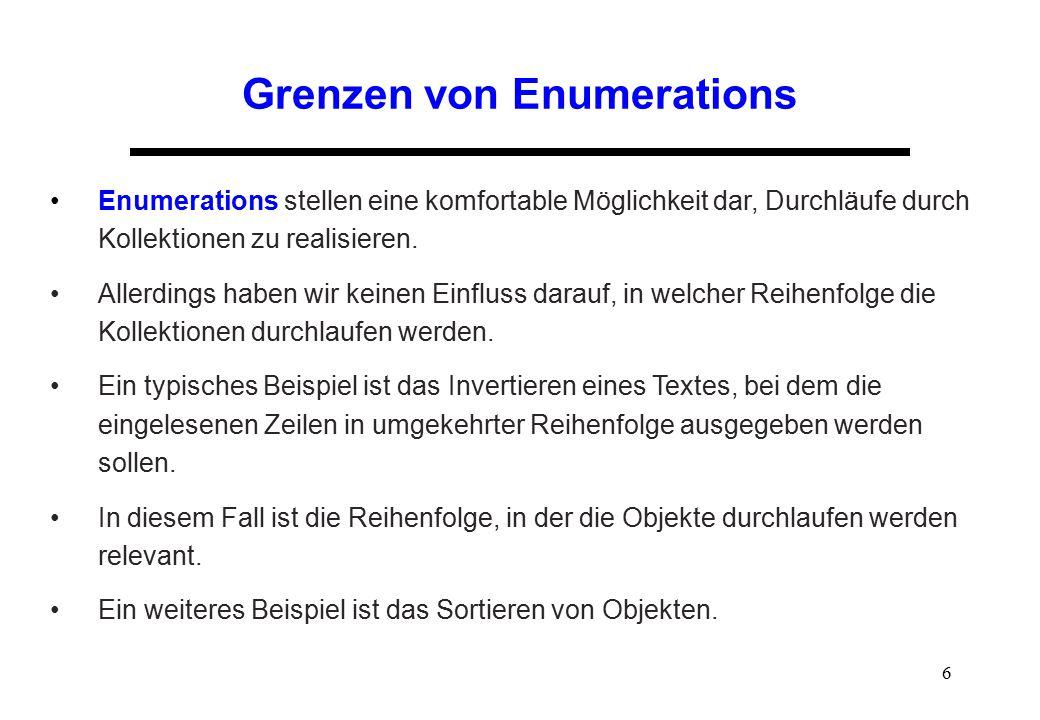 Grenzen von Enumerations